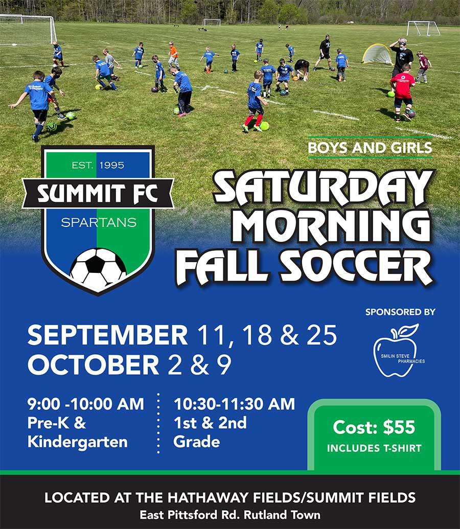 Saturday morning fall soccer flyer