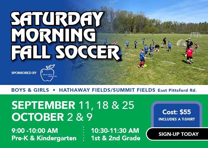 Saturday morning fall soccer information slider